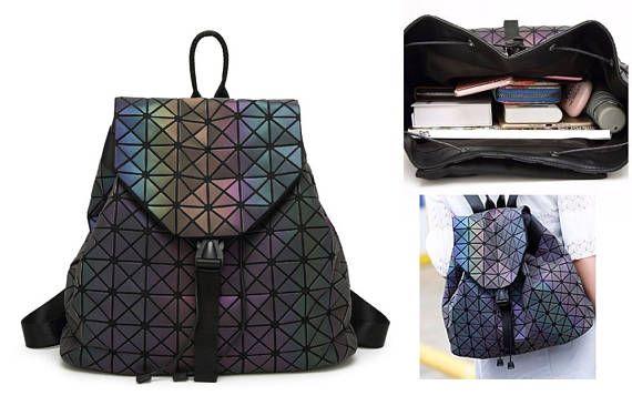 FREE SHIPPING! Geometric print backpack, 90's mini backpack, vaporwave, cyberpunk, hologram, cyberpunk backpack, cybergoth, futuristic