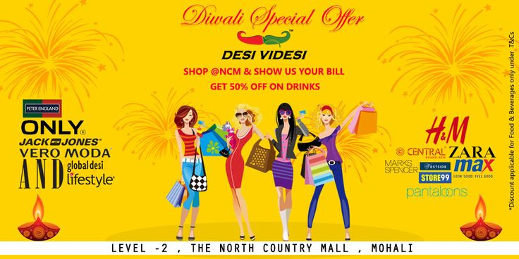 Let's see what #DiwaliSpecialOffer coming up! Shop with H&M ZARA VERO MODA ONLY JACK & JONES Peter England Pantaloons & More!  SHOP The North Country Mall  & SHOW US YOUR BILL  GET 50% OFF ON DRINKS!  #classicodesividesi #northcountry #Chandigarh #mohali #diwali #shopping