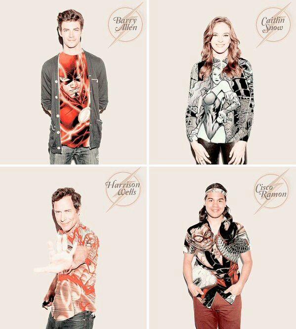 Team Star Labs - Barry Allen, Caitlin Snow, Harrison Wells and Cisco Ramon - Team Flash