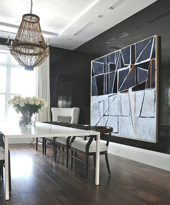 Large Painting Minimalist Art, Hand Painted Contemporary Art Abstract Painting, Geometric Art. Black White Orange Grey.