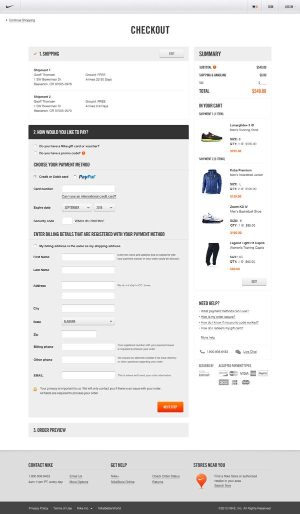Nike.com by Erik Herrström, via Behance #checkout #ecommerce