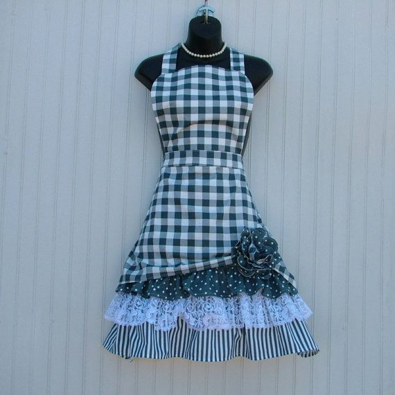 Dark Gray Womens Apron Gingham Gray Apron Ladies by KozyKitchens
