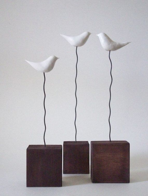 Little Whimsies - set of three bird sculptures by Amanda Rae Long $30
