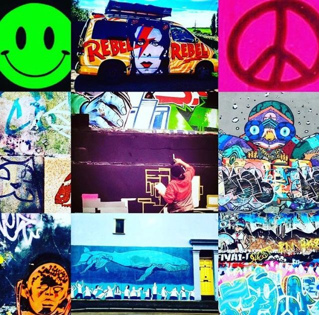 Photomashup Streetart Brighton, rebel rebel Bowie van spotted in Suffolk, neonpink peace sign spotted Amsterdam  photos by Lizzie Reakes