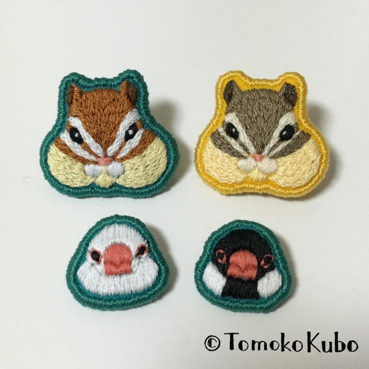 シマリスと文鳥 #embroidery #chipmunks #javasparrow #TomokoKubo #刺繍 #シマリス #文鳥 #クボトモコ #brooch #ブローチ #handmade #ハンドメイド #crafts