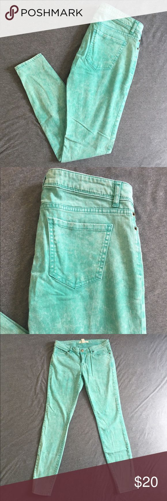 Sea foam green skinny jeans In great condition! Great for summer fun! PacSun Jeans Skinny