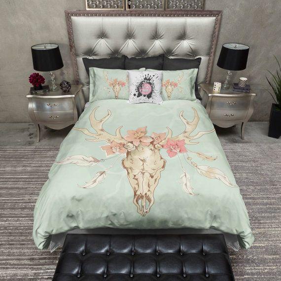Featherweight Deer Skull Bedding -  Mint Green Skull, Flower and Feather Print on Cream - Comforter Cover - Skull Duvet Cover, Skull Bed Set