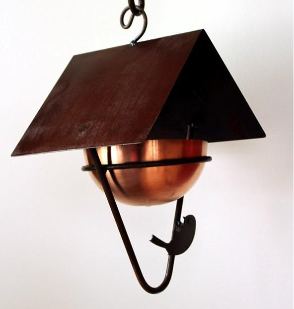 MH005  Covered bird feeder with copper bowl  Made in Canada
