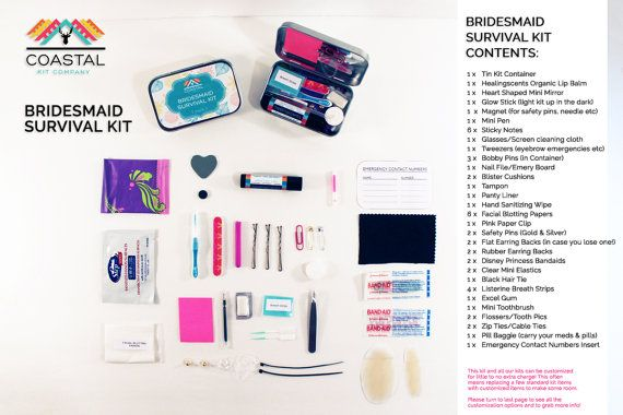 This 52 piece kit is a perfect gift for your beautiful bridesmaids. It's great for surviving any wedding and all the events leading up to it! It also makes a great gift for stagettes or hen nights too and contains everything to cover all those mini emergencies that can happen on late nights or nights out, with or without the ladies.