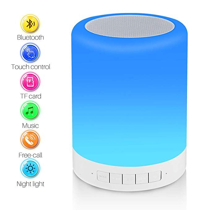 Touch Bedside Lamp With Bluetooth Speaker Reawul Table Night Light 3 Touch Dimmable Modes And 7 Colors To Switch Gift For Bedside Lamp Night Light Bluetooth