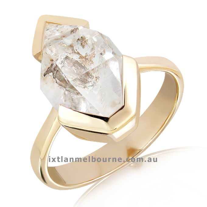 Do you like Unique ? Do you like Rare and Natural ? Herkimer Diamonds come of the ground faceted and polished as it is in this beautiful Handmade solid Yellow Gold Ring. Exclusive by Ixtlan Melbourne Jewellery Store See more here : http://goo.gl/8KtvNT #Gertrudestreet #Fitzroy #Melbourne #Jewellerydesign #Jewellery  #Melbournejewellers #Jewelleryshop #Jewellerystoremelbourne #Designerjewellery #Onlinejewelleryshopping #ShopsinMelbourne #Gemstonejewellery