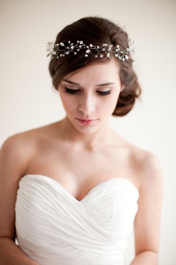 Bridal Crown Wedding Tiara Hair Wreath Floral Headband Bridal Halo Crystal Tiara Pearl Rhinestone- Jocelyn  MADE TO ORDER via Etsy