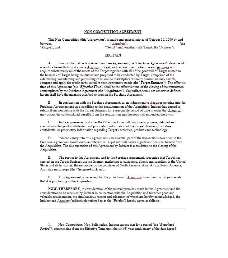 Non Compete Agreement Texas Template Inspirational 39 Ready To Use Non Pete Agreement Templates Tem Contract Template Business Template Cover Letter For Resume