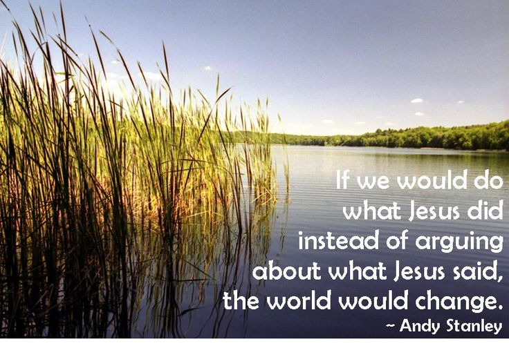 If we would do what Jesus did instead of arguing about what Jesus said, the world would change. ~ Andy Stanley