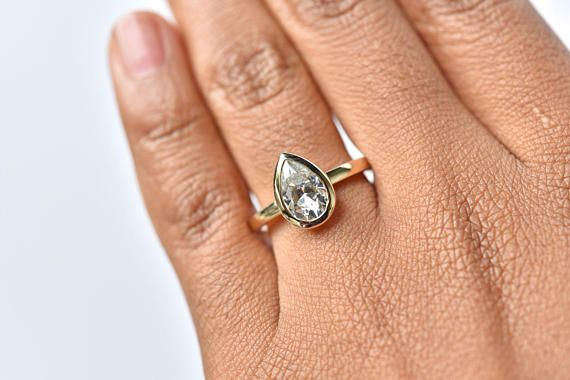 Pear Shaped Engagement Ring 1 5 Ct Moissanite Bezel Bezel Engagement Ring Pear Shaped Engagement Rings Grey Diamond Engagement Ring