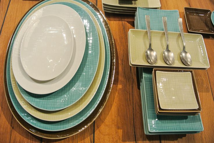 Embossed Mesh Dinnerware from Rosenthal in four refined coastal colors.