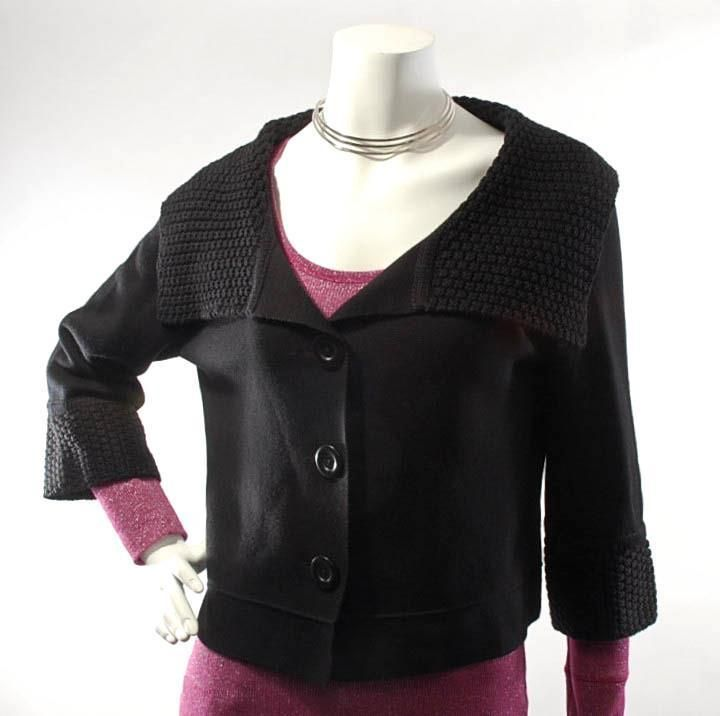 "~CAbi~ #502 ""Jackie O"" Wool Blend Button-Down Cropped Shawl Collar Sweater, M #CAbi #Cardigan   $29.99"