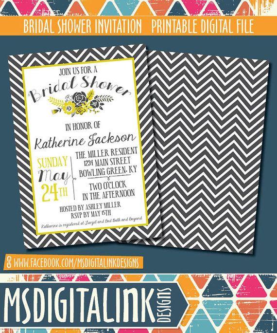 Bridal Shower Invitation  Printable by msdigitalinkdesigns on Etsy, $15.00