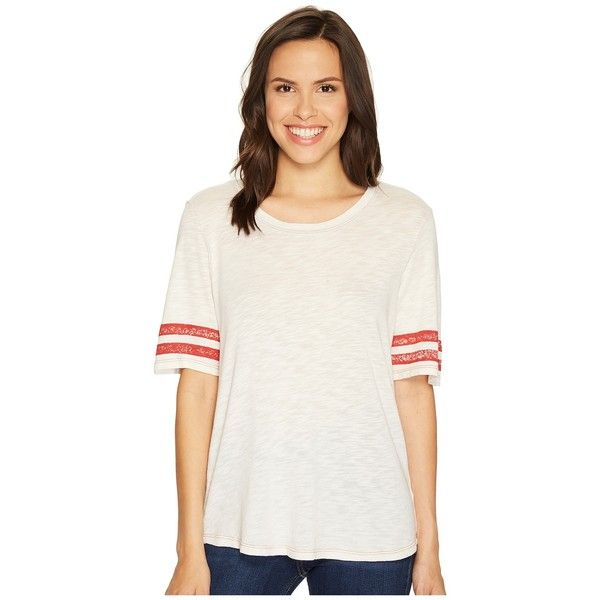 Splendid Vintage Roller Rugby Stripe Tee (Cream) Women's T Shirt ($88) ❤ liked on Polyvore featuring tops, t-shirts, ripped white t shirt, curved hem t shirt, curved hem tee, distressed white tee and white scoop neck tee