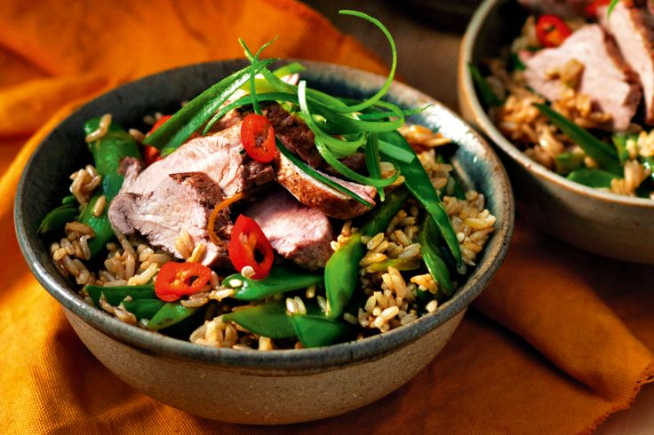 spiced pork with brown rice