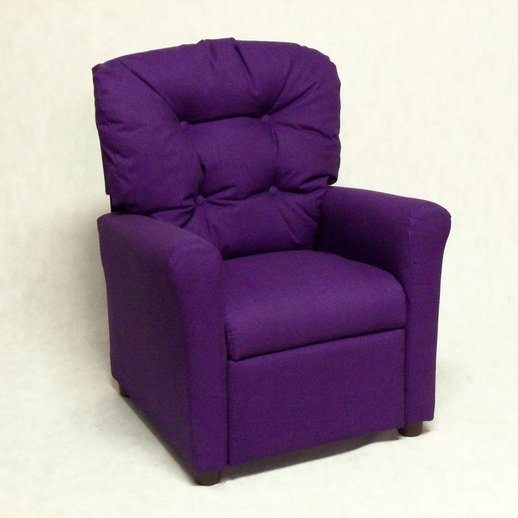 Brazil Furniture 4-Button Back Child Recliner - 400-SOLID PURPLE