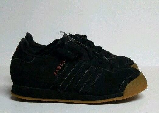 Adidas Samoa Black Red Shoes Brown Gum Sole Retro Boys Sz 13 Casual Trainers #Adidas #CasualTrainers