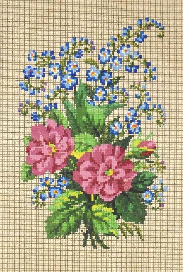 A Berlin WoolWork Floral Spray Pattern