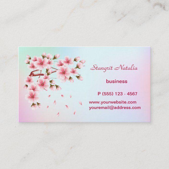 Cherry Blossom Tree Business Card Zazzle Com Cherry Blossom Tree Cherry Blossom Business Card Template
