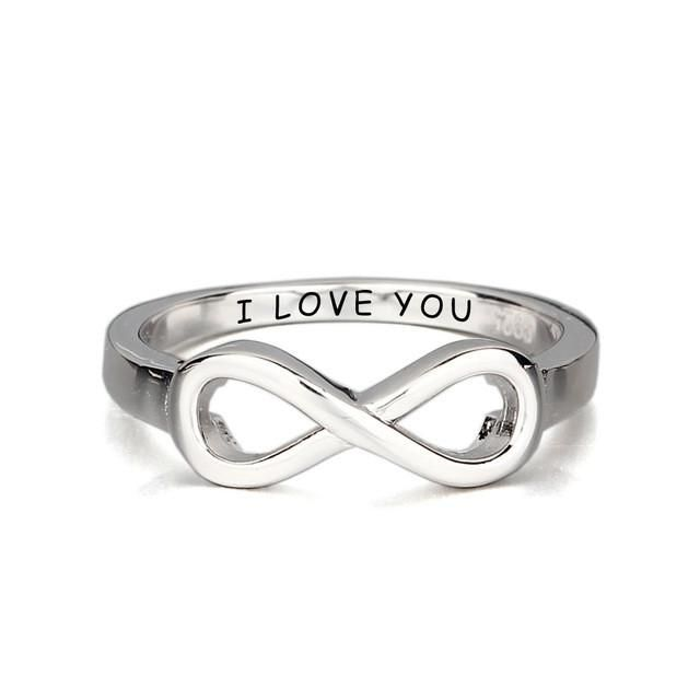 "Christmas Gifts For Her - ""I LOVE YOU"" Engraved Infinity Promise Rings For Women"