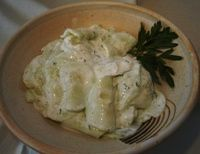 Creamy Cucumber Salad with Dill Of course Grandma didn't have white wine vinegar and used apple cider vinegar!