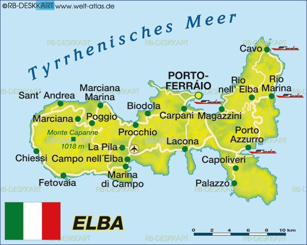 Map of Elba (Italy)