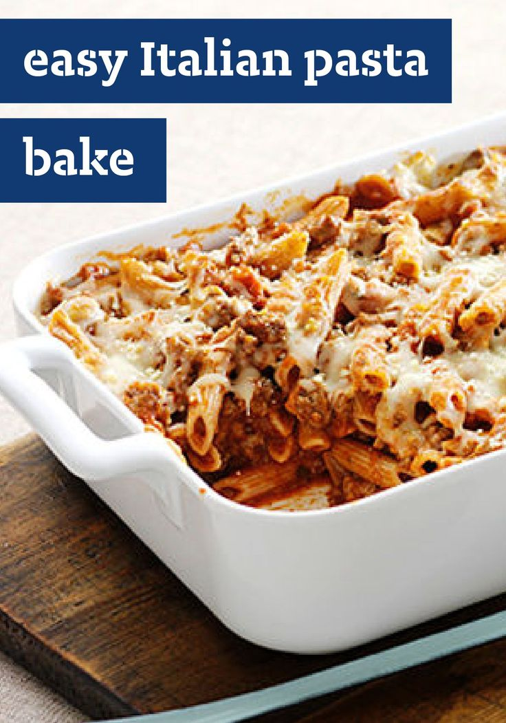 Easy Italian Pasta Bake – Parmesan and mozzarella cheese give this pasta bake recipe its Italian appeal. Plus, it's easy—just a few simple steps and it's oven-ready in 20 minutes.