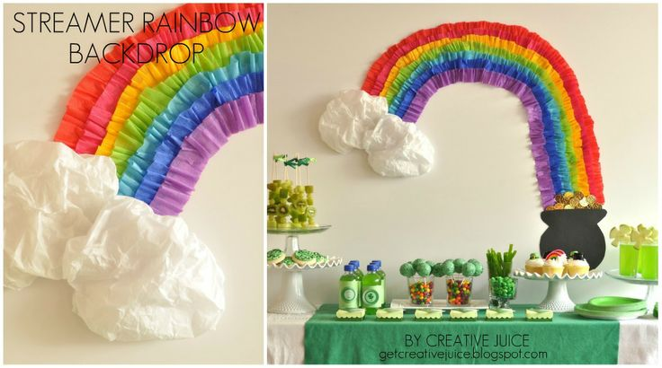 Rainbow Streamer Backdrop |Creative Juice #rainbow #stpatricksday