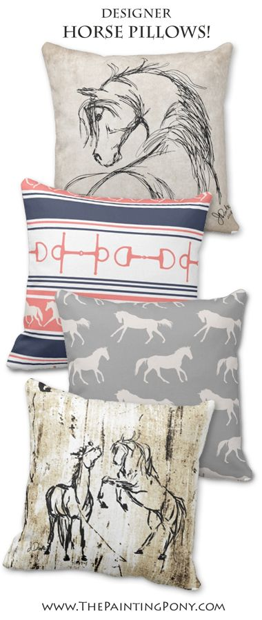 equestrian throw pillows for the living room or horse lover's bedroom home decor. Beautiful horses and pony themed pillow designs perfect for the hunter jumper rider, dressage, and cowgirl horseback riding enthusiast.