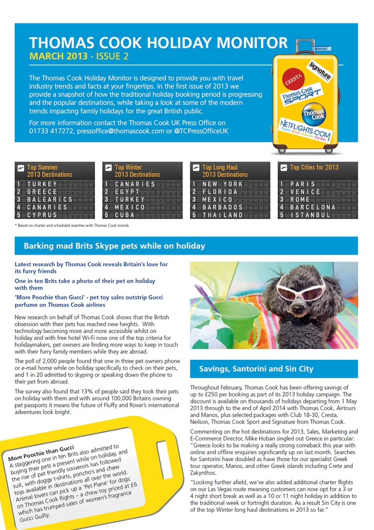 Thomas Cook's Holiday Monitor - March 2013