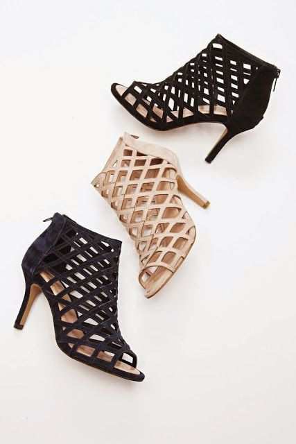 Suede caged mid heels