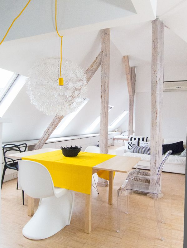 Living in a shoebox | Bright attic apartment by Sabina Królikowska