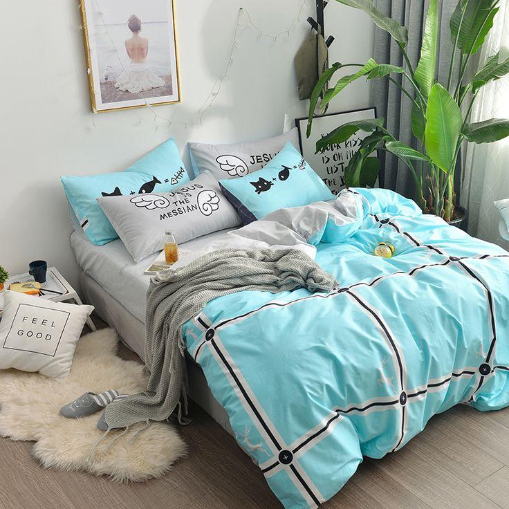 Blue PlaidBedding Duvet Cover Grey Bed Sheet Bedding Sets