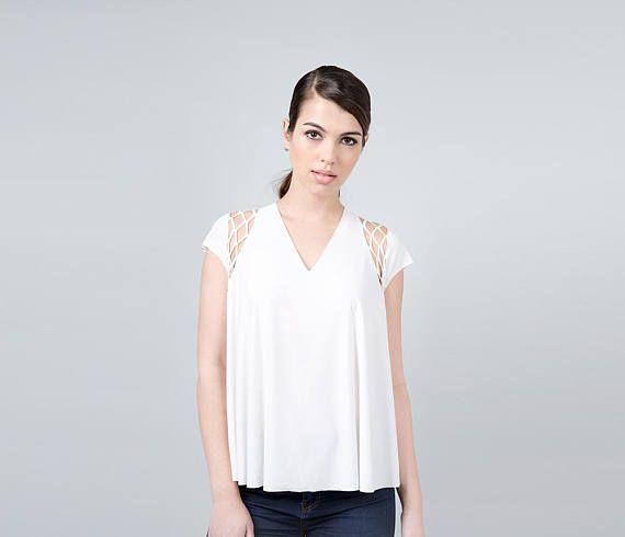 Womens White Top, Womens White Blouse, White Shirt White Loose Top White Summer Shirt White Casual Top White Womens Shirt White Cutout Shirt