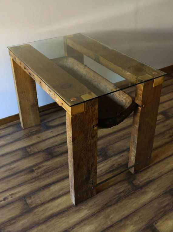 Reclaimed Wood Dining Table. Glass Top. Reclaimed Wood