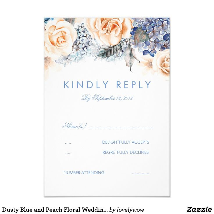 Dusty Blue and Peach Floral Wedding RSVP Card Pastel blue hydrangea and peachy roses floral wedding reply cards