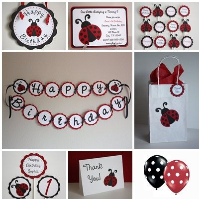 Ladybug Birthday Party Set- full party line and many color options available.