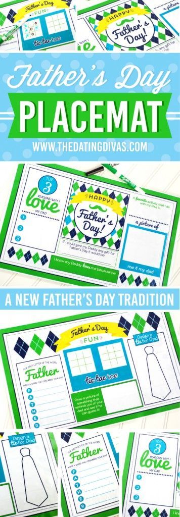 free printables for fathers day - Father's Day Placemat for father's day dinner or brunch or lunch or breakfast - a new father's day tradition gift for all ages - what to have when hosting the whole family - children's crafts for dads