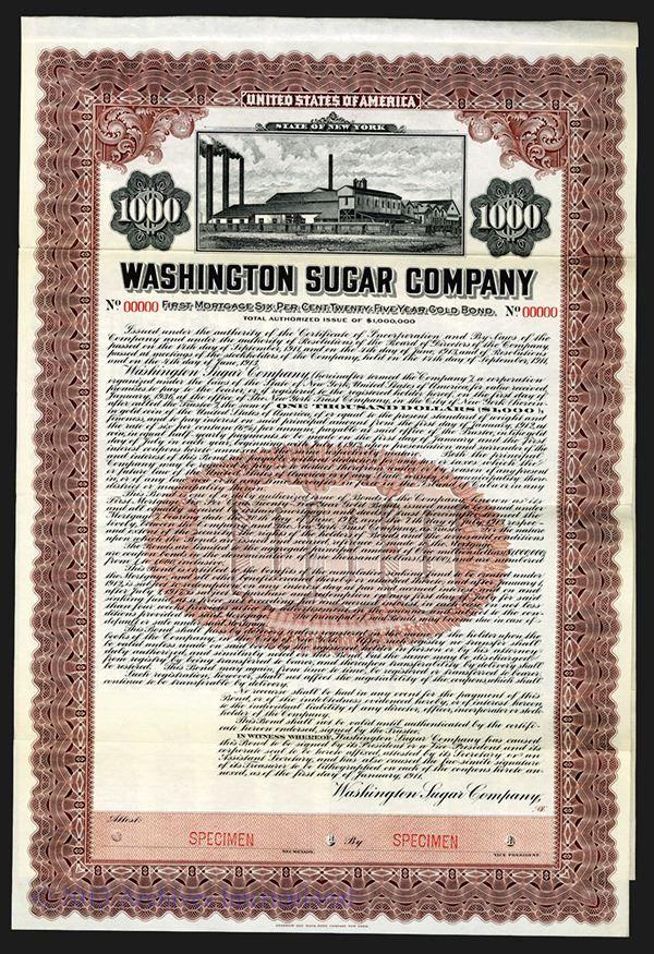 Washington Sugar Co. 1911. - Archives International Auctions
