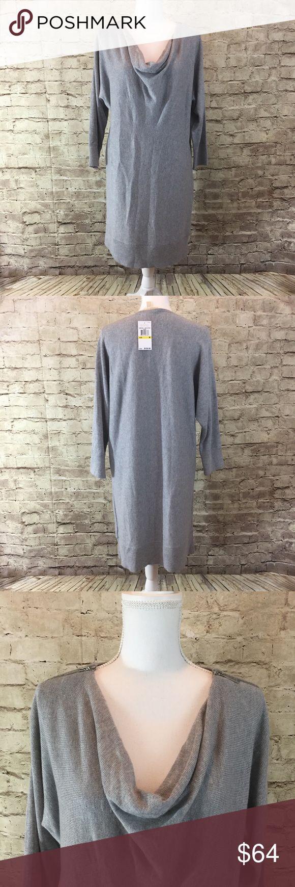Michele Kors Cowl Neck Sweater Dress Gown neck grey sweater dress with zipper detail on the shoulder. MICHAEL Michael Kors Dresses Mini