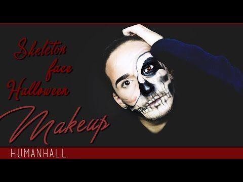 Skeleton Face HALLOWEEN Makeup Tutorial - HumanHall - YouTube
