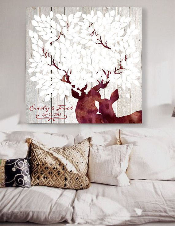 Rustic Wedding guest book with deers in neutral colors. Winter wedding theme. 50 - 300 signatures - Alternative Guest Book tree deers