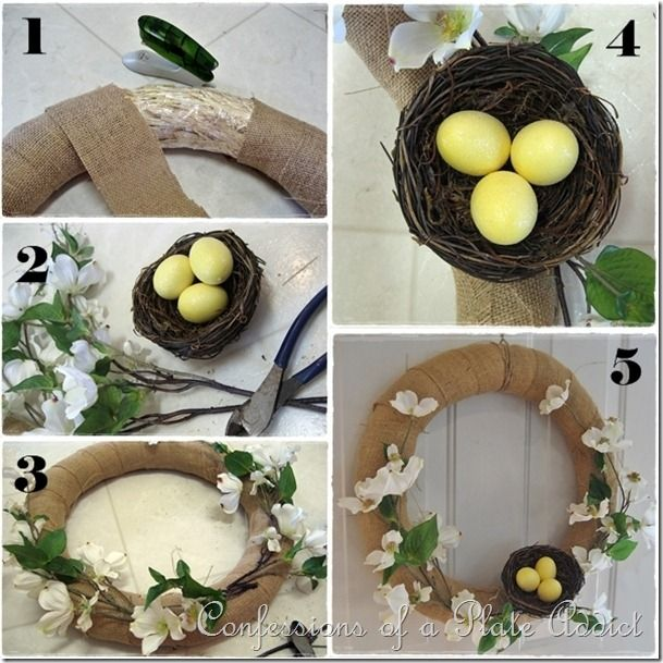 CONFESSIONS OF A PLATE ADDICT Burlap and Dogwood...My Easy (and Almost Free) Spring Wreath