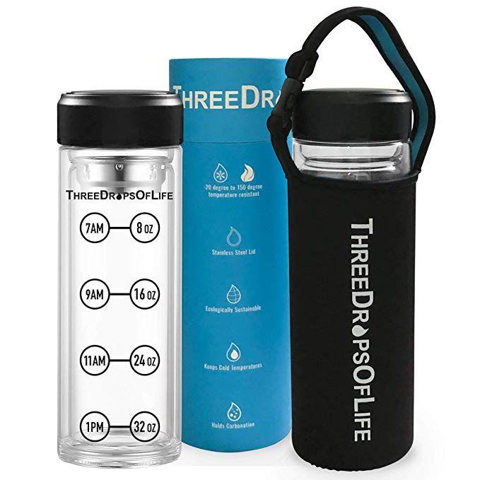 New 32 Oz Double Wall Large Glass Water Bottle Time Tracker Marks Best Borosilicate Sport Bottles Includes Neop Glass Water Bottle Water Bottle Sport Bottle