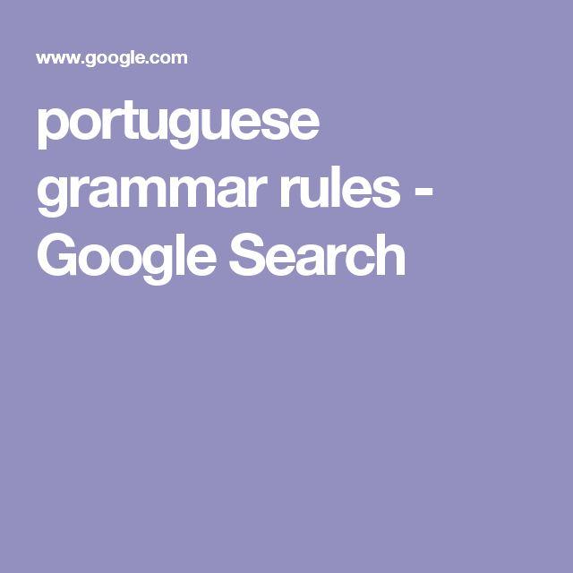 portuguese grammar rules - Google Search